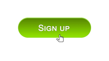Sign up web interface button clicked with mouse cursor, green color, online, stock footage 写真素材