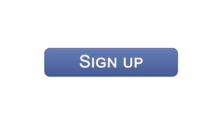 Sign up web interface button violet color, program authorization, password, stock footage Stock Photo