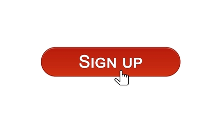 Sign up web interface button clicked with mouse cursor, wine red color, online, stock footage