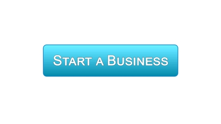 Start a business web interface button blue color, development plan, career, stock footage 写真素材
