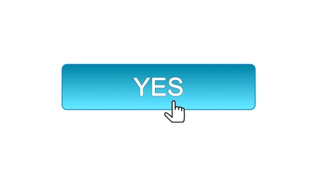 Yes web interface button clicked with mouse cursor, blue color, online program, stock footage