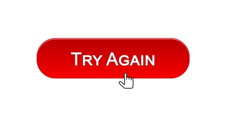 Try again web interface button clicked with mouse cursor, red color, support, stock footage