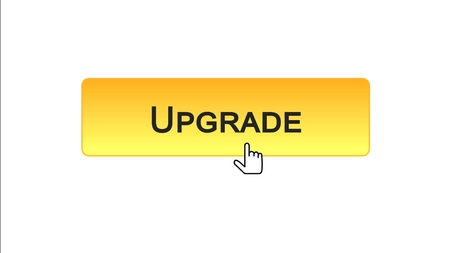 Upgrade web interface button clicked with mouse cursor, orange color, update, stock footage