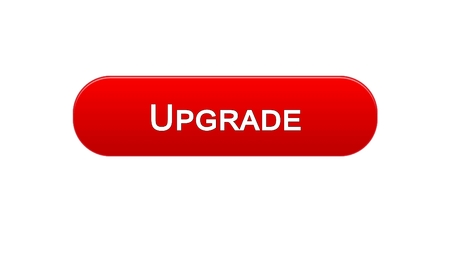 Upgrade web interface button red color, software installation, program update, stock footage