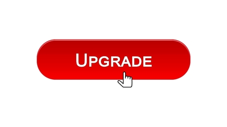 Upgrade web interface button clicked with mouse cursor, red color, update, stock footage 写真素材