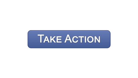 Take action web interface button violet color, internet site design, leadership, stock footage Stock Photo