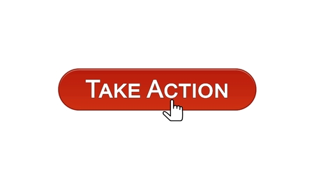 Take action web interface button clicked with mouse cursor wine red, online, stock footage