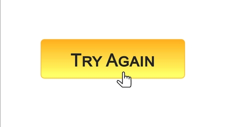 Try again web interface button clicked with mouse cursor, orange color, support, stock footage