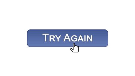 Try again web interface button clicked with mouse cursor, violet color, support, stock footage