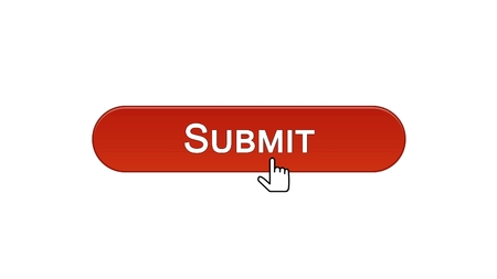 Submit web interface button clicked with mouse cursor, wine red color, online, stock footage