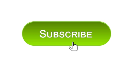 Subscribe web interface button clicked with mouse cursor, green color, online, stock footage