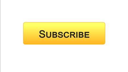 Subscribe web interface button orange color, social network, online advertising, stock footage