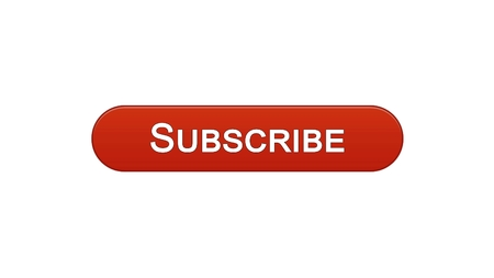 Subscribe web interface button wine red color, social network online advertising, stock footage