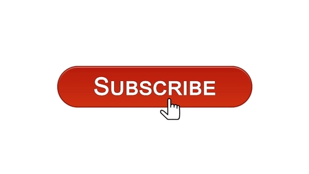 Subscribe web interface button clicked with mouse cursor, wine red color, online, stock footage Stock Photo