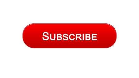 Subscribe web interface button red color, social network, online advertising, stock footage