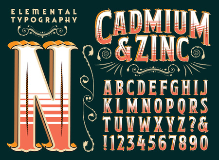 A custom 3d vector typeface with an old time or circus sideshow flair. All capitals and numerals and some punctuation are included. Illusztráció