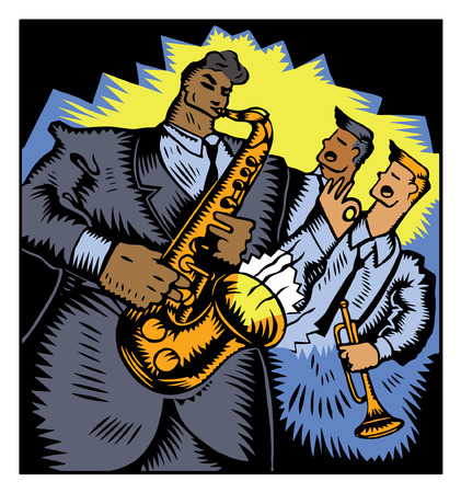 A stylized vector illustration of three jazz musicians. Stock Vector - 79409618