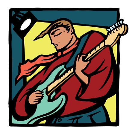 Een gestileerde gitarist die onder stadiumlichten presteert.