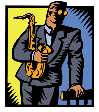 A moody image of a man in a suit holding a saxophone. Illustration