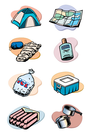 A group of eight vector illustrations with a camping or recreational vehicle theme. 矢量图像