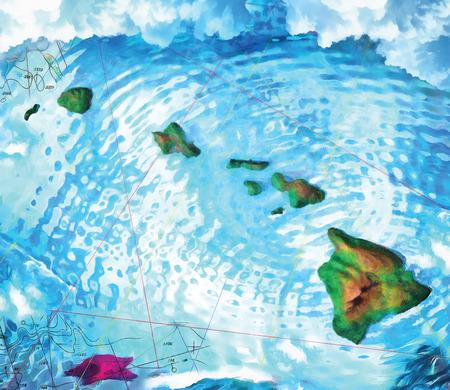 A digital illustration of the Hawaiian Islands based on a 3d rendered model 免版税图像
