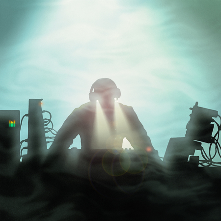 A stylized illustration of a synthesizer player or DJ on a smoky stage