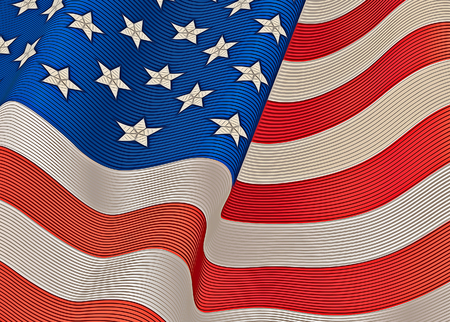 A United States flag in a color engraving style