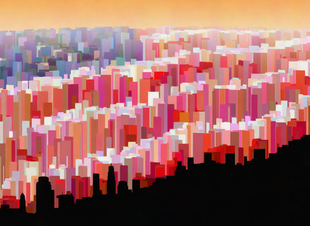 A fanciful cityscape in the form of a United States flag