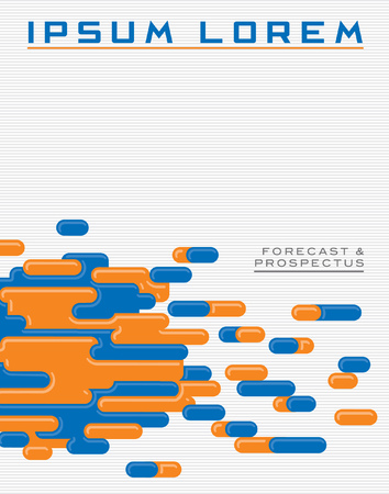 A graphic template with a colorful vector motif suggesting data or capsules