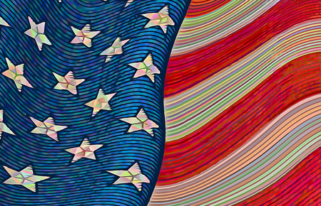 An American flag with whimsical pastel stripes