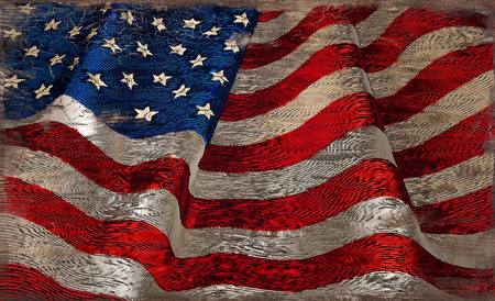 A United States flag with a rustic paint on wood effect 免版税图像
