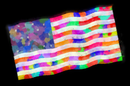 An American flag in a whimsical watercolor style.