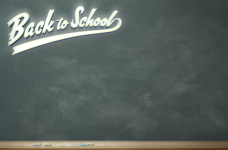 A chalkboard with lighted lettering: Back to School 免版税图像