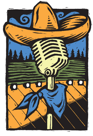 A southwestern-styled live music themed illustration