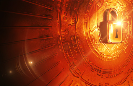Conceptual cybersecurity image: A 3d modeled rendering of a padlock on a metallic tech background Stockfoto