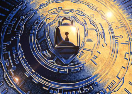Conceptueel cybersecuritybeeld: Het 3d gemodelleerde teruggeven van een hangslot op een metaaltechnologieachtergrond