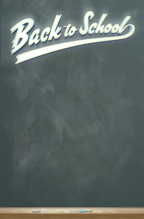 An image of a chalkboard with the words Back to School in glowing white script letters.