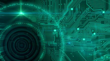 Una imagen abstracta con placa de circuito y círculos concéntricos, que representa la tecnología. Foto de archivo - 81780595