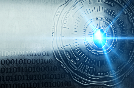 An image of a shield against a high-tech metallic surface, representing cyber security