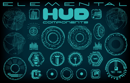 A collection of vector elements for creating a HUD display