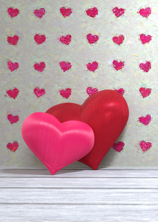 Valentine's Day image with two hearts against a heart-patterned painted backgroun