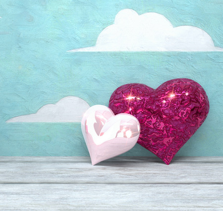 Two hearts against a painted clouds background; 3d rendered image 免版税图像
