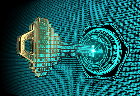 Cybersecurity concept: A 3d rendered illustration of a key morphing into binary code and entering an abstract lock.