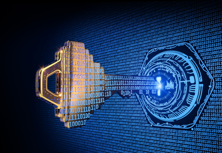 Concepto de ciberseguridad: una ilustración procesada en 3D de una clave que se transforma en código binario e ingresa un bloqueo abstracto.