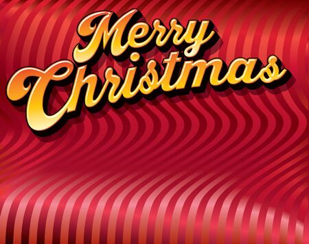 A script Merry Christmas message on a striped satiny background 矢量图像