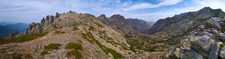 Panorama of the high mountains of Corsica, France photo
