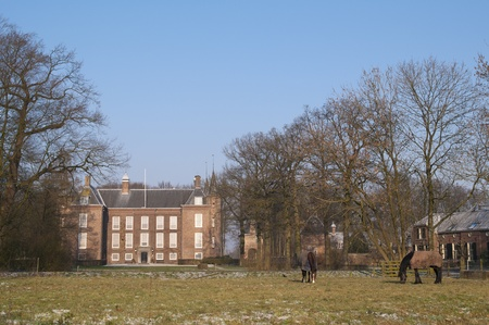 A black and a brown horse on a frozen paddock in front of an ancient manor. To the right and in the back are the farm buildings and houses of the staff. photo