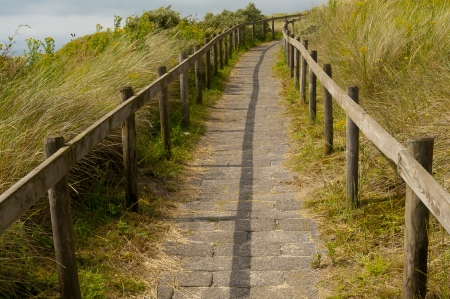 Path to the top of dune in the Netherlands. photo