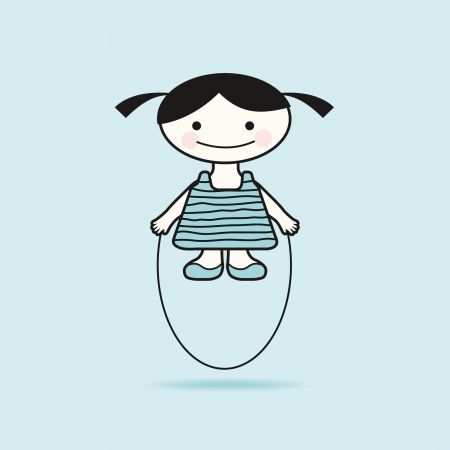 Funny little girl with skipping rope vector illustration