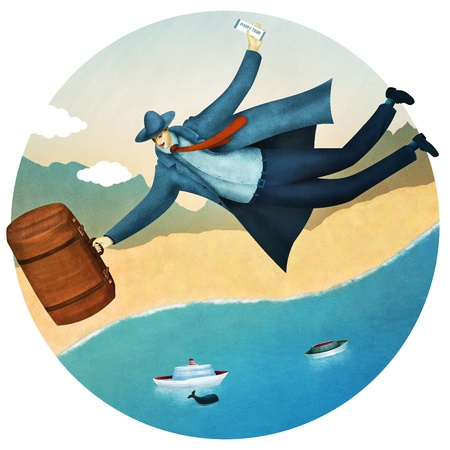Flying tourist  Happy vacation tour for a businessman Stock Photo